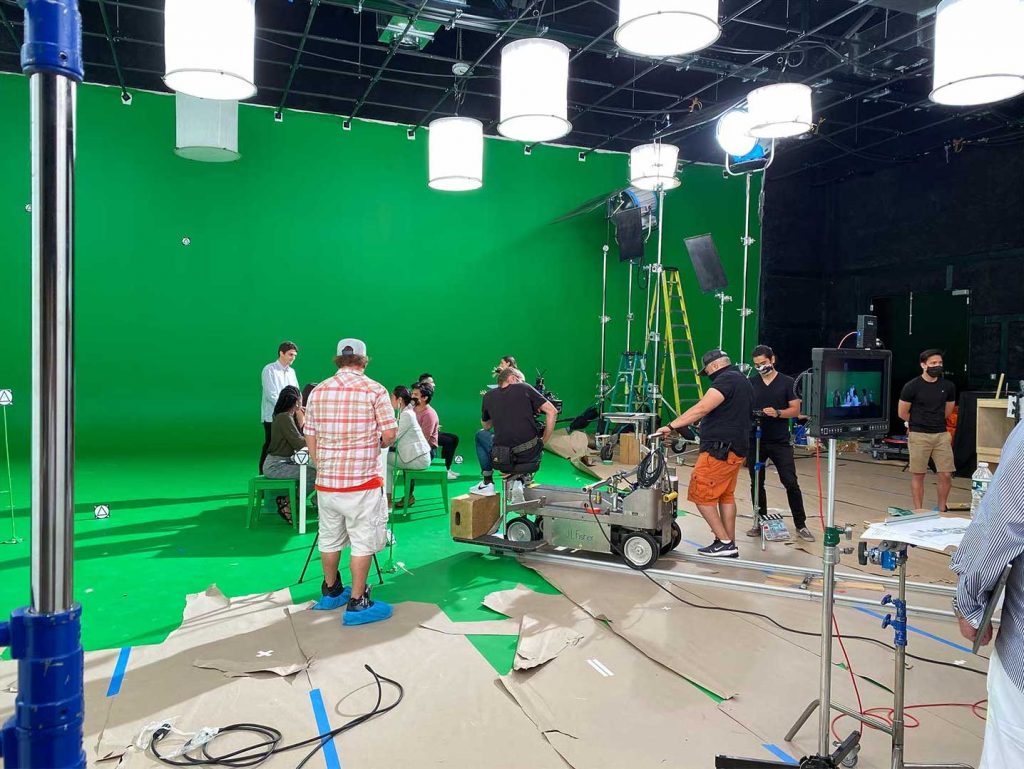 green screen stage with our crews